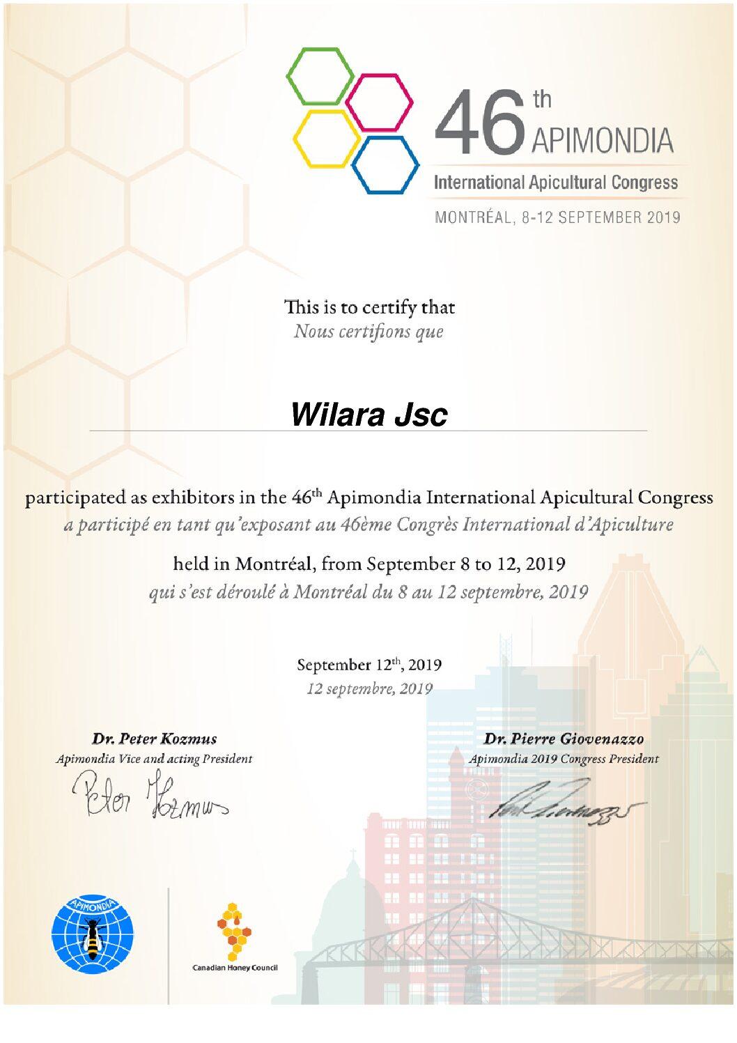 46-ojo Tarptautinio bitininkų asociacijos kongreso APIMONDIA dalyvio sertifikatas