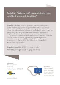 """Patys dalyvaujame projekte """"Wilara, UAB naujų užsienio rinkų paieška ir esamų rinkų plėtra"""""""